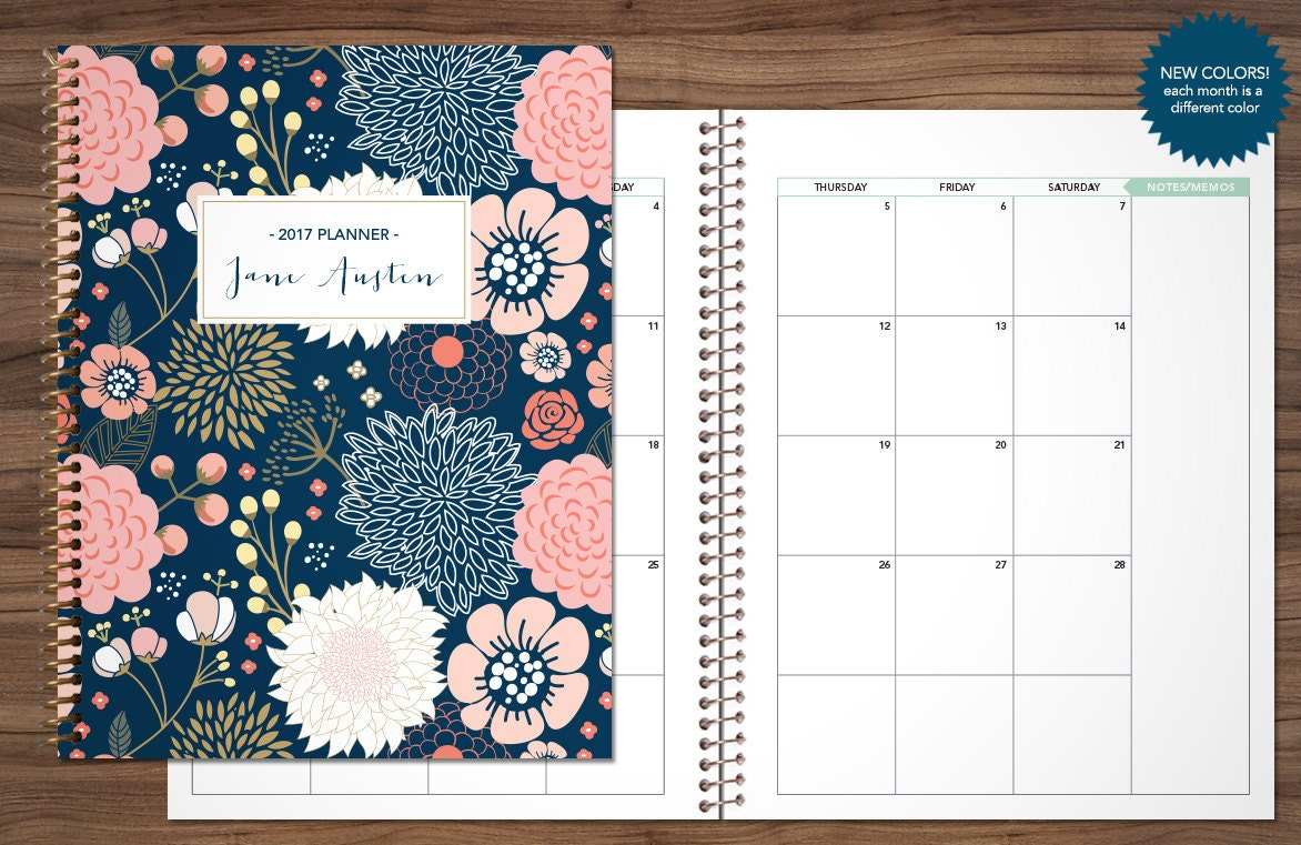 2017 2018 monthly planner custom planner month at a glance for Create custom planner