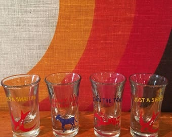 Retro Shot Glasses, Set of 4 - 3 styles - Just a Swallow, Down the Track, Happy Days are Here Again, Mid Century Barware, Retro Shot Glasses
