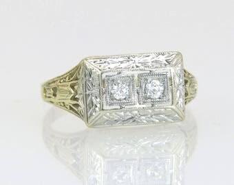 Estate Art Deco .08ct Genuine Diamond 14K Two Tone Gold Engagement Ring