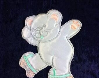 Vintage Bear On Rollerskates Patch Appliqué Patch Embroidery Patch bear Patch Big Patch