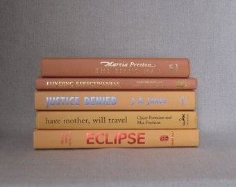Book Bundle in Tangerine and Apricot, Orange Decorative Books, Wedding Book Set