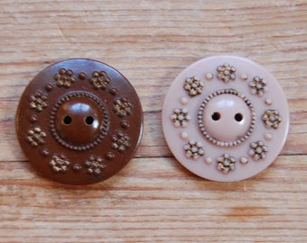 1930's Vintage Casein Buttons in Fawn and Chestnut with Gold flowers- medium sized