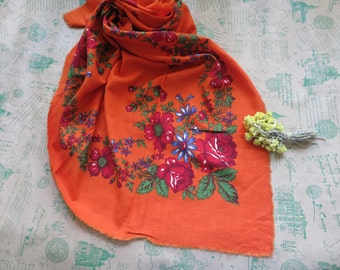 Floral head scarf, babushka shawl, vintage square shawl, floral ornaments, vintage scarf, print scarf, neck scarf, women scarves