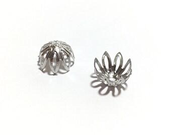 Flower Bead 8 Petal Stainless Steel Caps 12 pcs, 11x7mm, Steel Flower Bead Caps Jewelry Supplies Findings, Jewelry Making Iron Findings Bead