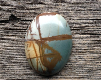Picasso Jasper Cabochon - Oval - Blue, Brown, Sandy Yellow and Cream