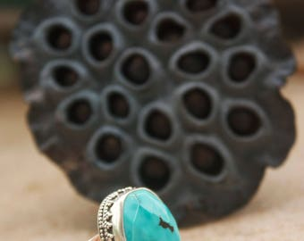 Faceted Genuine Turquoise Ring in Sterling Silver Setting with Adjustable Band