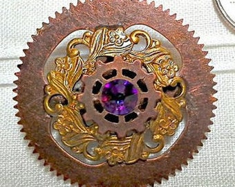 BACKORDER Octopunx Steampunk Brooch 17 Cogs, Flowers, and Swarovski Crystal