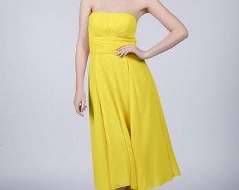 Sun Yellow Strapless Short Bridesmaid/Prom Dress by Matchimony