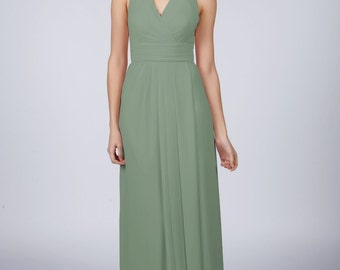 Sage Halterneck Long Bridesmaid/Prom Dress by Matchimony