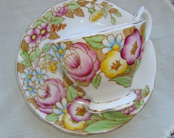 """Royal Albert """"Bouquet"""" - Vintage Tea Cup and Saucer - Pink, Yellow, Blue and Rust Floral, Gold Trim"""