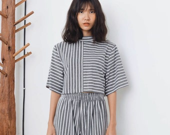 Minimal Grey-White Stripe Cotton Crop Top with Short Sleeve and High Neck
