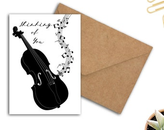 Printable Thinking Of You Card With Violin & Music Notes - Encouragement Card For Violin Player - Musical Instrument - Music Exam Card - PDF