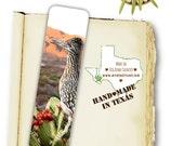 Greater Roadrunner Bird Photo Bookmark, Texas Big Bend, Desert Wildlife, Handmade, 7.25 x 2 wide