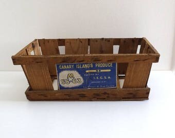Vintage Wooden Fruit Crate CANARY ISLANDS - Retro Wooden Market Case, Wooden Box