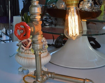 Steampunk industrial lamp switch made with a throttle Edison bulb