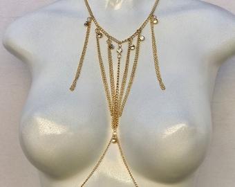 15% off sale, gold Body Chain, crystal body chain, bikini body jewelry, simple body chain, bralette chain, harness body chain, body chain