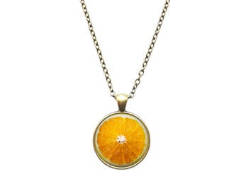 Fruit jewelry Orange pendant Berry necklace