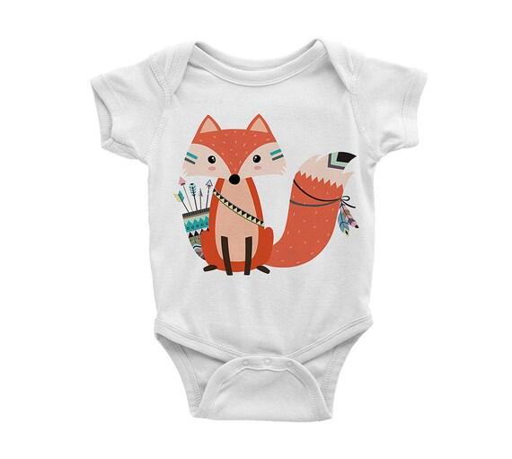 Tribal Archery Fox Baby esie baby shower baby newborn