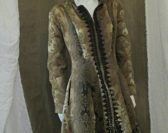 Gold and Black Jacquard Ombre Coat, Steampunk, Gothic, Unique, High Low hem, OOAK