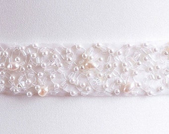 Crystal and Freshwater Pearl Bridal Belt Or Sash - Ivory - Made To Measure - OLIVIA
