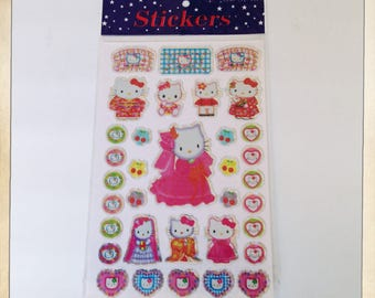Hello Kitty Japanese Animation Packet Of 34 Laser Prism Stickers Scrapbooking Decoration Craft