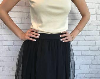 Black Tulle Skirt - Tutu Skirt - Womens Tulle Skirt - Black skirt - Size S