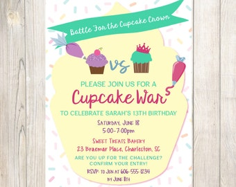 Cupcake War Birthday Invitation