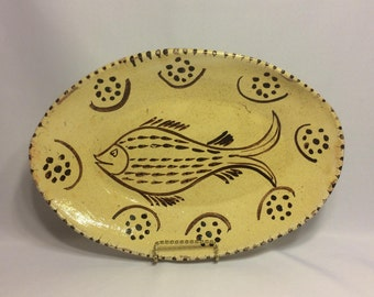 Rustic Ceramic slab-made Mexican pottery-like Oval Fish Platter