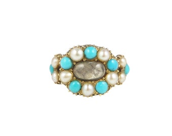 Georgian Pearl And Turquoise Ring, In 15ct Gold, Antique Turquoise Pearl Ring, Georgian Ring, Victorian Rings, Antique Pearl Ring
