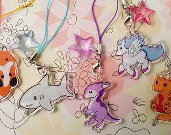 Adorable Animal 1.5'' Clear Acrylic Charms, Pegasus, Dinosaur, Parasaurolophus, Fox, Dragon, Shark