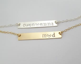 Bar Necklace, Personalized Name Plate, Custom name necklace, Bridesmaid Necklace, Gold Name Bar Necklace, Silver bar necklace, Gift for her