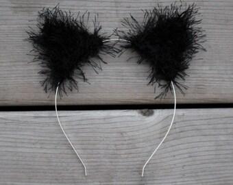 Fuzzy Black Cat Ear Crochet Headband