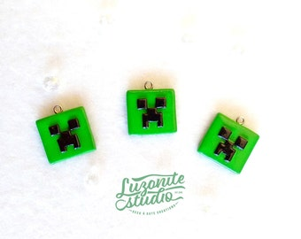 Pendants inspired by faces of creeper in Minecraft handmade polymer clay (unofficial)