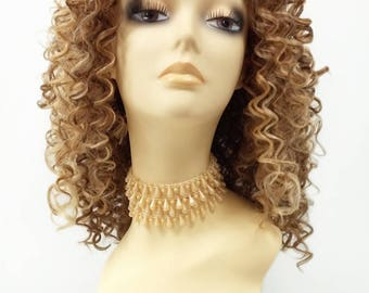14 Inch Lace Front Golden Blonde Light Brown Curly Wig. Small Spiral Curls. Heat Resistant Synthetic Fashion Wig [112-519C-Flora-24C/613-12]