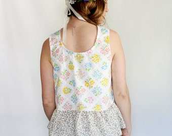 Refashioned clothing, boho floral tank fashion for her made to order color block flower child reversible tank spring peplum top ruffle tank