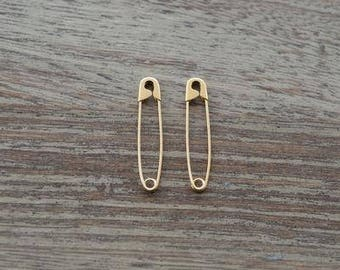 1.25 Inch 2 Pieces 925 Solid Sterling Safety Pin Earrings,Sterling Silver Safety Pin Earrings,Silver Safety Pin Earrings Gold Plated