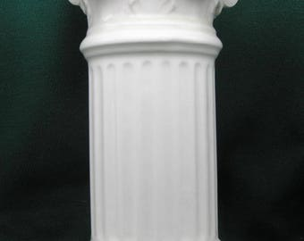 "8"" Classical White Ceramic Pedestal for a special figurine or sculpture"