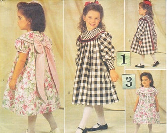 Girl's Wide Collar, Gathered Yoke Dress Sewing Pattern/ Butterick 4215 Easy Toddler Long Sleeve Formal Party Dress UnCut/ Size 1 2 3