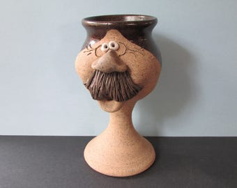 """Funny 3D Face Art Pottery Goblet/ Vintage 1980's Man's Face with Moustache Wine Glass, Barware/ 6.5"""" H X 3.5"""" W"""