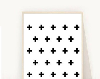 Swiss Cross Print, Printable Wall Art, Black and White Art, Swiss Cross Art, Plus Sign Print, Modern Wall Art, Minimalist Art, Downloadable