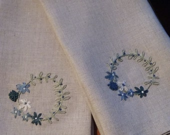 Pure Linen Guest Towel with Hand Embroidered Flower Wreath