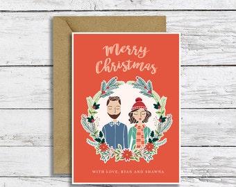 Custom Christmas Card Illustration Portrait Digital File  | Couple, Family, Pet Portrait | Happy Holidays | Christmas Greeting