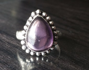 Amethyst Teardrop Sterling Silver Plated Ring Size 9US