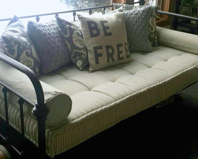 Custom Cushions Black Ticking Stripe French Mattress