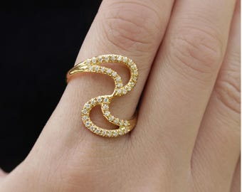 Black Diamond Ring, Diamonds ring, Yin and Yang 14K Gold Ring, Halo Diamond ring, Anniversary ring, Multi-stone Women's Engagement Ring,1196