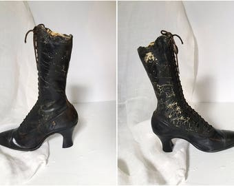 Women's Victorian Boot, Decorative Boot, Black Leather Boot, Victorian Boot, Edwardian Boots, Granny Boots