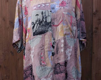 Oversized Pastel Short Sleeved Shirt in Abstract Print
