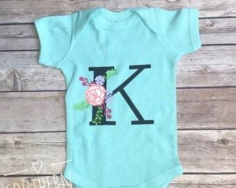 Floral Monogram Baby Bodysuit