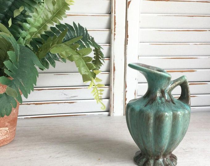Gonder Pottery Pitcher Vase with Green Onyx Glaze