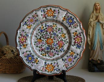 Vintage DERUTA Italy Extra Large Serving / Display Ceramic Platter Handmade and Hand Painted Italian Majolica Plate Wall Hanging Art Pottery